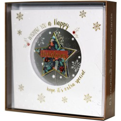 Snowflake Charm Die Cut Star Box of 5 Luxury Foil Glitter Hand Finished Blank Christmas Xmas Cards by Talking Pictures