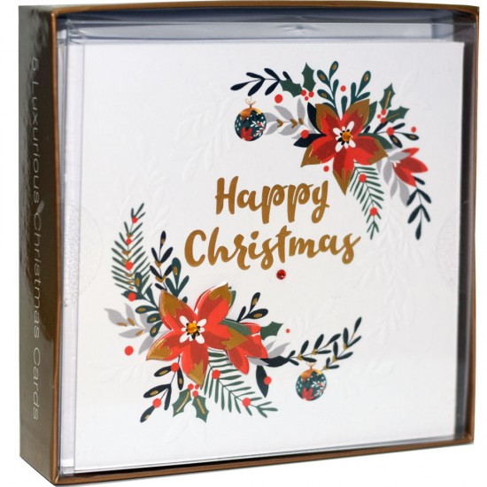 Poinsettia and Baubles Box of 5 Luxury Foil Hand Finished Christmas Xmas Cards by Talking Pictures