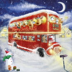 Santa Bus Fun Glitter Finish Xmas Magic Christmas and New Year Charity Cards Pack (5 Cards,1 Design)