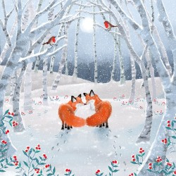 Playful Foxes in Snow Magic Xmas Charity Christmas Cards Pack (5 Cards,1 Design)