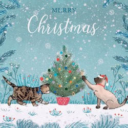 Cats and Xmas Tree Glitter Finish Magic Charity Christmas Cards Pack (5 Cards,1 Design)