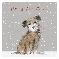 Dog in The Snow Drawing Magic Xmas Charity Christmas Cards Pack (5 Cards,1 Design)