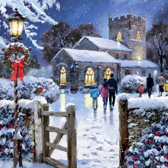Illuminated Church Art Xmas Charity Christmas Cards Pack (5 Cards,1 Design)