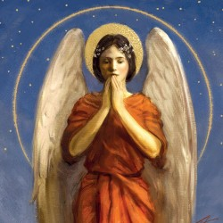 Angel Praying Religious Art Xmas Charity Christmas Cards Pack (5 Cards,1 Design)