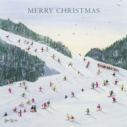 Ski-Vining by Artist Judy Joel Ski Whizz Skiing busy slopes Single Luxury Christmas & New Year Card
