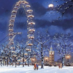 London Eye and Big Ben Xmas Charity Christmas Cards Pack (5 Cards,1 Design)