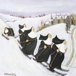 Skiing Nuns Art Xmas Charity Christmas Cards 5 Pack