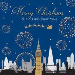 London Skyline Fireworks Sparkle Xmas Charity Christmas Cards 5 Pack
