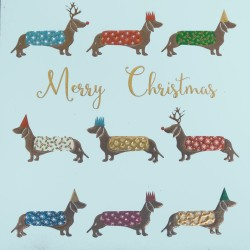 Festive Dachshund Sausage Dogs Sparkle Foil and Glitter Luxury Xmas Christmas Charity Cards 5 Pack