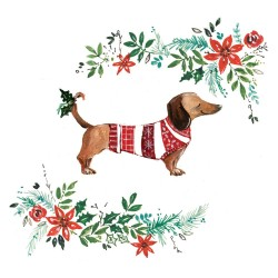 []Dachshund Sausage Dog in Xmas Jumper Sparkle Charity Christmas Cards 5 Pack