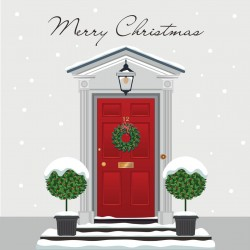 Home Red Door with Wreath Sparkle Flitter Finish Single Christmas Greeting Card