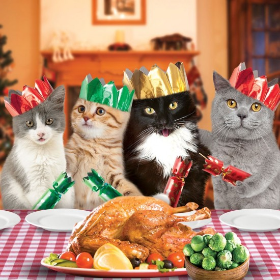 Festive Cats Xmas Turkey Dinner Party Magic Single Christmas and New Year Greeting Card