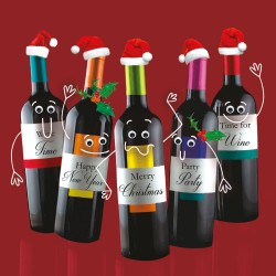 Gogglies Xmas Party Time Wine Bottles Single Christmas and New Year Greeting Card