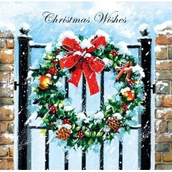 Wreath on Gate Art Single Foil Emboss & Glitter Finish Xmas Christmas Card