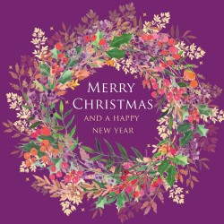 Purple Wreath Single Foil Emboss & Glitter Finish Xmas Christmas Card