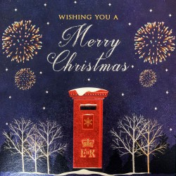 Red ER Post Box Mail and Fireworks Single Foil Emboss & Glitter Finish Xmas Christmas Card
