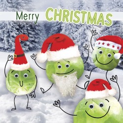 Fun & Festive Brussels Sprout in Santa Hats Funny Single Christmas and New Year Greeting Card