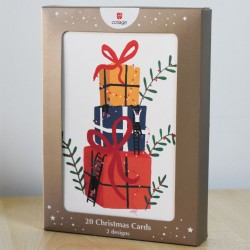 Contemporary Xmas Tree & Presents Stack - 20 Premium Christmas Cards in 2 Designs
