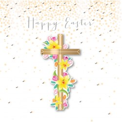 Cross & Flowers Happy Easter Luxury Handmade 3D Card By Talking Pictures