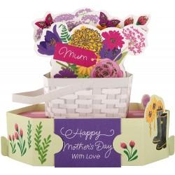 Luxury Pop-Up Mother's Day Card - Basket of Garden Flowers - Paper Wonder From Hallmark
