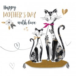 Two Happy Cats On Mother's Day Luxury 3D Handmade Card By Talking Pictures