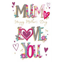Mum Love You Large Luxury 3D Handmade Mother's Day Card By Talking Pictures