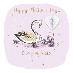 Love You Loads Swan Fold Out Heart Luxury Handmade Mother's Day Card By Talking Pictures