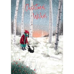 Into the Green Publishing 100% Plastic Free ECO Friendly Pack of 10 Xmas Christmas Cards with Envelopes (Girl Playing with Dog)