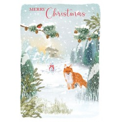 Into the Green Publishing 100% Plastic Free ECO Friendly Pack of 10 Xmas Christmas Cards with Envelopes (Curious Fox)