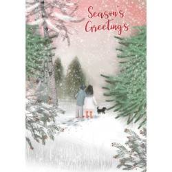 Into the Green Publishing 100% Plastic Free ECO Friendly Pack of 10 Xmas Christmas Cards with Envelopes (Walking the Dog)