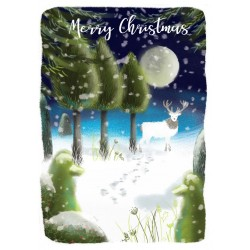 Into the Green Publishing 100% Plastic Free ECO Friendly Pack of 10 Xmas Christmas Cards with Envelopes (Reindeer in Moonlight)