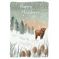 Into the Green Publishing 100% Plastic Free ECO Friendly Pack of 10 Xmas Christmas Cards with Envelopes (Bison in Snow)