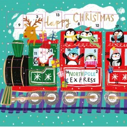 Santa Festive Train Christmas Advent Calendar Card by Ling Design