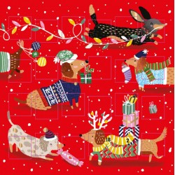 Christmas Dogs 24 Door Festive Advent Calendar Card by Ling Design