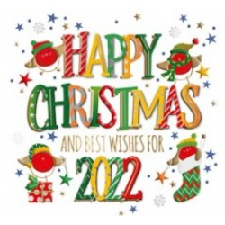 Happy Christmas and Best Wishes for 2022 - Box of 5 Gold Foil Raised Letter Hand Made Xmas Cards by Talking Pictures
