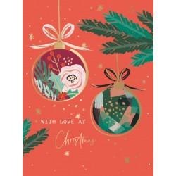 Christmas Baubles Festive Kraft Art Box of 8 Christmas Cards of 1 Design by Ling Design