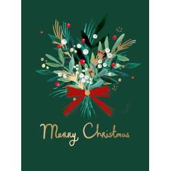 Winter Foliage Festive Kraft Art Box of 8 Christmas Cards of 1 Design by Ling Design