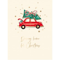 Driving Home For Christmas Festive Kraft Art Box of 8 Christmas Cards of 1 Design by Ling Design