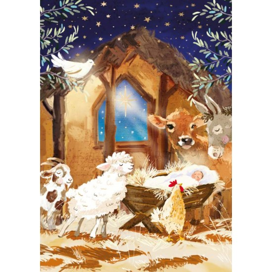 Around The Manger Ling Design Religious Art - British Heart Foundation Charity Christmas Cards - Pack of 6 Xmas Cards