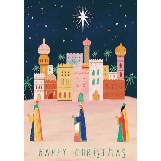 Arriving in Bethlehem Three Kings Yonder Star - Ling Design Religious Art - British Heart Foundation Charity Christmas Cards - Pack of 6 Xmas Cards