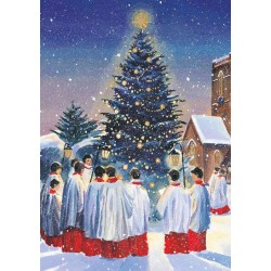 Evening Carols Ling Design Religious Art - British Heart Foundation Charity Christmas Cards - Pack of 6 Xmas Cards