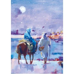 Moonlit Bethlehem Making the Journey - Ling Design Religious Art - British Heart Foundation Charity Christmas Cards - Pack of 6 Xmas Cards