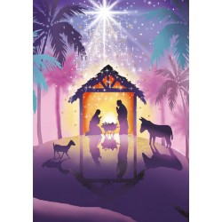 Away In A Manger Ling Design Religious Art - British Heart Foundation Charity Christmas Cards - Pack of 6 Xmas Cards