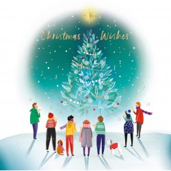 Around The Tree Carol Singers - Ling Design Contemporary Art Charity Christmas Cards - Pack of 6 Xmas Cards