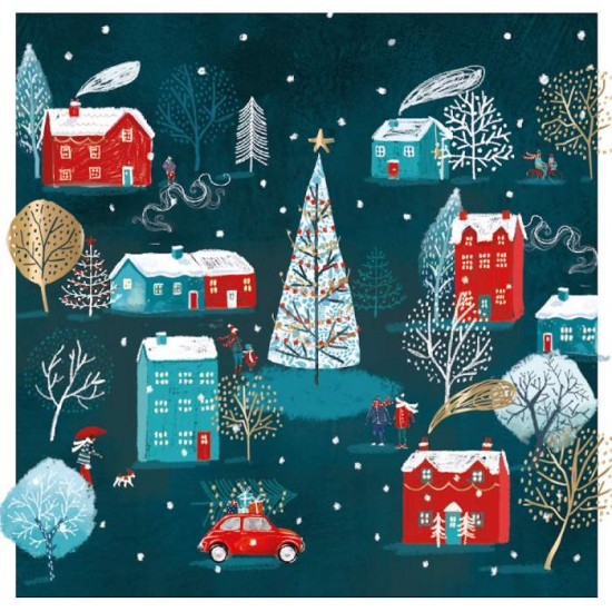Festive Village Ling Design Contemporary Art Charity Christmas Cards - Pack of 6 Xmas Cards