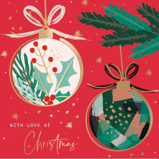Christmas Time Xmas Baubles - Ling Design Contemporary Art Charity Christmas Cards - Pack of 6 Xmas Cards