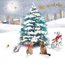 Admiring the Tree Forest Animals with Dalmatian Friend - Ling Design Contemporary Art Charity Christmas Cards - Pack of 6 Xmas Cards