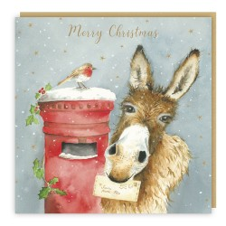 Donkey & Post Box Tracks Love Country Christmas Art Cards That Tells A Story - Pack of 5 Xmas Cards