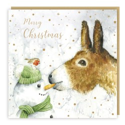 Donkey & Snowman Tracks Love Country Christmas Art Cards That Tells A Story - Pack of 5 Xmas Cards