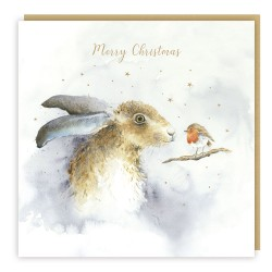 Hare & Robin Tracks Love Country Christmas Art Cards That Tells A Story - Pack of 5 Xmas Cards